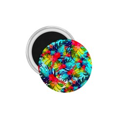 Watercolor Tropical Leaves Pattern 1.75  Magnets