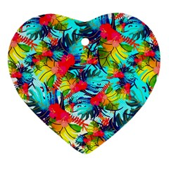 Watercolor Tropical Leaves Pattern Ornament (Heart)
