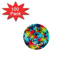 Watercolor Tropical Leaves Pattern 1  Mini Buttons (100 pack)