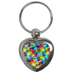 Watercolor Tropical Leaves Pattern Key Chains (Heart)