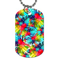 Watercolor Tropical Leaves Pattern Dog Tag (One Side)
