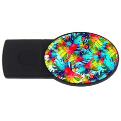 Watercolor Tropical Leaves Pattern USB Flash Drive Oval (1 GB)