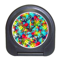 Watercolor Tropical Leaves Pattern Travel Alarm Clocks