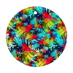 Watercolor Tropical Leaves Pattern Round Ornament (Two Sides)