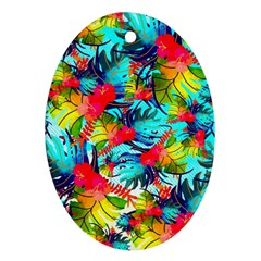 Watercolor Tropical Leaves Pattern Oval Ornament (two Sides)