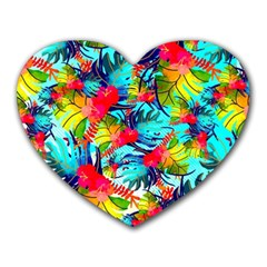 Watercolor Tropical Leaves Pattern Heart Mousepads