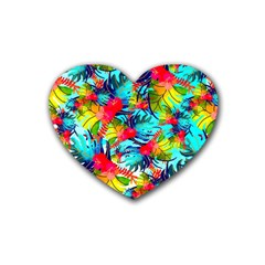 Watercolor Tropical Leaves Pattern Heart Coaster (4 pack)