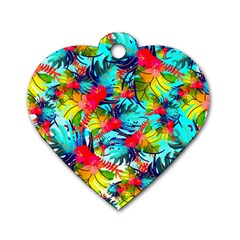 Watercolor Tropical Leaves Pattern Dog Tag Heart (Two Sides)