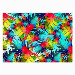 Watercolor Tropical Leaves Pattern Large Glasses Cloth