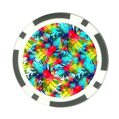 Watercolor Tropical Leaves Pattern Poker Chip Card Guards