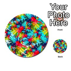 Watercolor Tropical Leaves Pattern Multi-purpose Cards (Round)