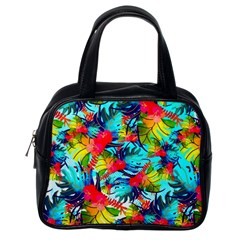 Watercolor Tropical Leaves Pattern Classic Handbags (One Side)