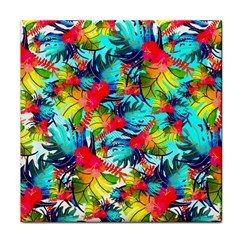 Watercolor Tropical Leaves Pattern Face Towel