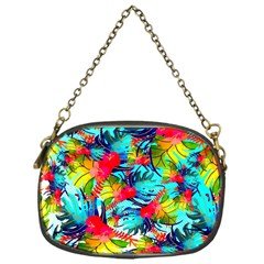 Watercolor Tropical Leaves Pattern Chain Purses (One Side)