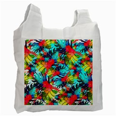 Watercolor Tropical Leaves Pattern Recycle Bag (two Side)