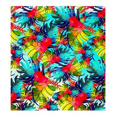 Watercolor Tropical Leaves Pattern Shower Curtain 66  x 72  (Large)