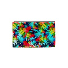 Watercolor Tropical Leaves Pattern Cosmetic Bag (Small)