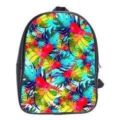 Watercolor Tropical Leaves Pattern School Bags(Large)