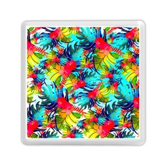 Watercolor Tropical Leaves Pattern Memory Card Reader (Square)