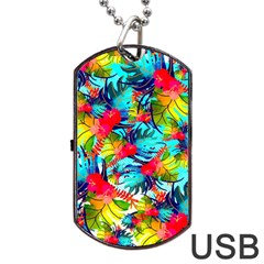 Watercolor Tropical Leaves Pattern Dog Tag USB Flash (Two Sides)