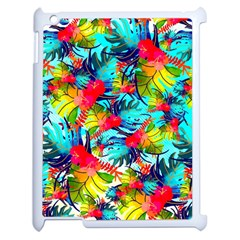 Watercolor Tropical Leaves Pattern Apple iPad 2 Case (White)