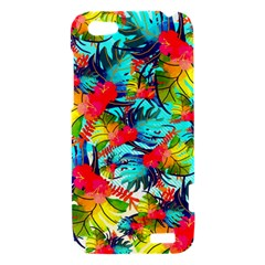 Watercolor Tropical Leaves Pattern HTC One V Hardshell Case