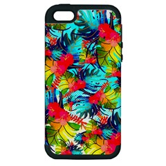 Watercolor Tropical Leaves Pattern Apple iPhone 5 Hardshell Case (PC+Silicone)