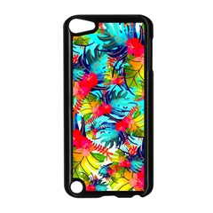 Watercolor Tropical Leaves Pattern Apple iPod Touch 5 Case (Black)
