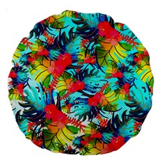Watercolor Tropical Leaves Pattern Large 18  Premium Round Cushions