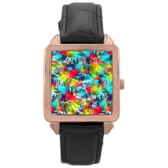 Watercolor Tropical Leaves Pattern Rose Gold Leather Watch