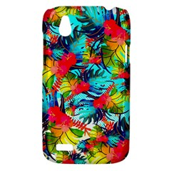 Watercolor Tropical Leaves Pattern HTC Desire V (T328W) Hardshell Case