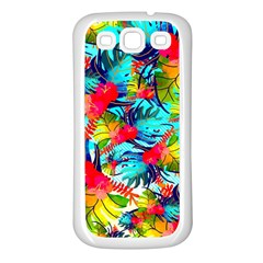Watercolor Tropical Leaves Pattern Samsung Galaxy S3 Back Case (White)