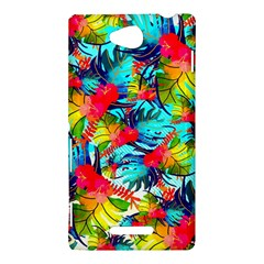Watercolor Tropical Leaves Pattern Sony Xperia C (S39H)