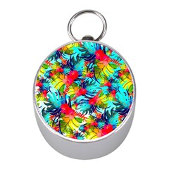 Watercolor Tropical Leaves Pattern Mini Silver Compasses