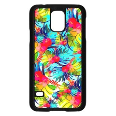 Watercolor Tropical Leaves Pattern Samsung Galaxy S5 Case (Black)