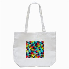 Watercolor Tropical Leaves Pattern Tote Bag (White)