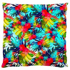 Watercolor Tropical Leaves Pattern Standard Flano Cushion Case (Two Sides)