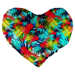 Watercolor Tropical Leaves Pattern Large 19  Premium Flano Heart Shape Cushions