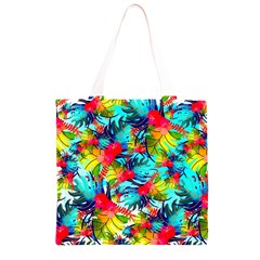 Watercolor Tropical Leaves Pattern Grocery Light Tote Bag