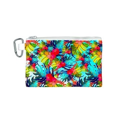 Watercolor Tropical Leaves Pattern Canvas Cosmetic Bag (S)