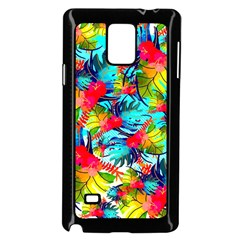 Watercolor Tropical Leaves Pattern Samsung Galaxy Note 4 Case (Black)