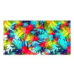 Watercolor Tropical Leaves Pattern Satin Shawl