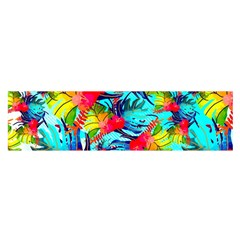Watercolor Tropical Leaves Pattern Satin Scarf (Oblong)