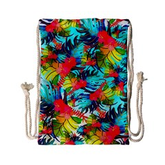 Watercolor Tropical Leaves Pattern Drawstring Bag (Small)
