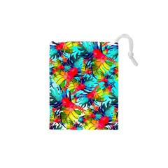 Watercolor Tropical Leaves Pattern Drawstring Pouches (XS)