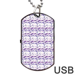 Floral Stripes Pattern Dog Tag USB Flash (Two Sides)