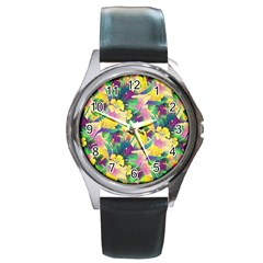 Tropical Flowers And Leaves Background Round Metal Watch