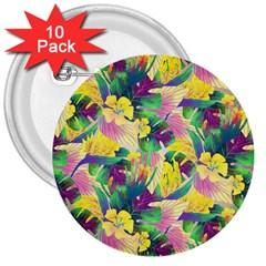 Tropical Flowers And Leaves Background 3  Buttons (10 pack)