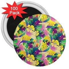 Tropical Flowers And Leaves Background 3  Magnets (100 pack)