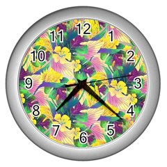 Tropical Flowers And Leaves Background Wall Clocks (Silver)